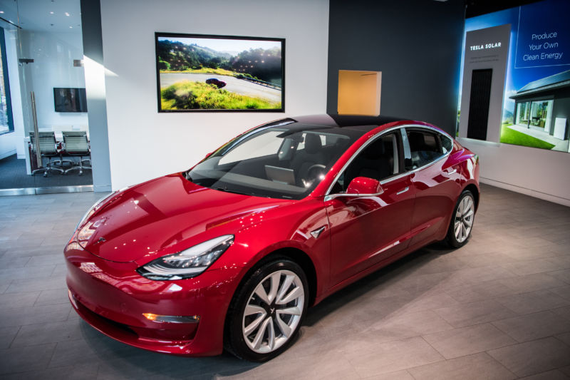 Tesla's new Model 3 car on display is seen on Friday, January 26, 2018, at the Tesla store in Washington, DC.