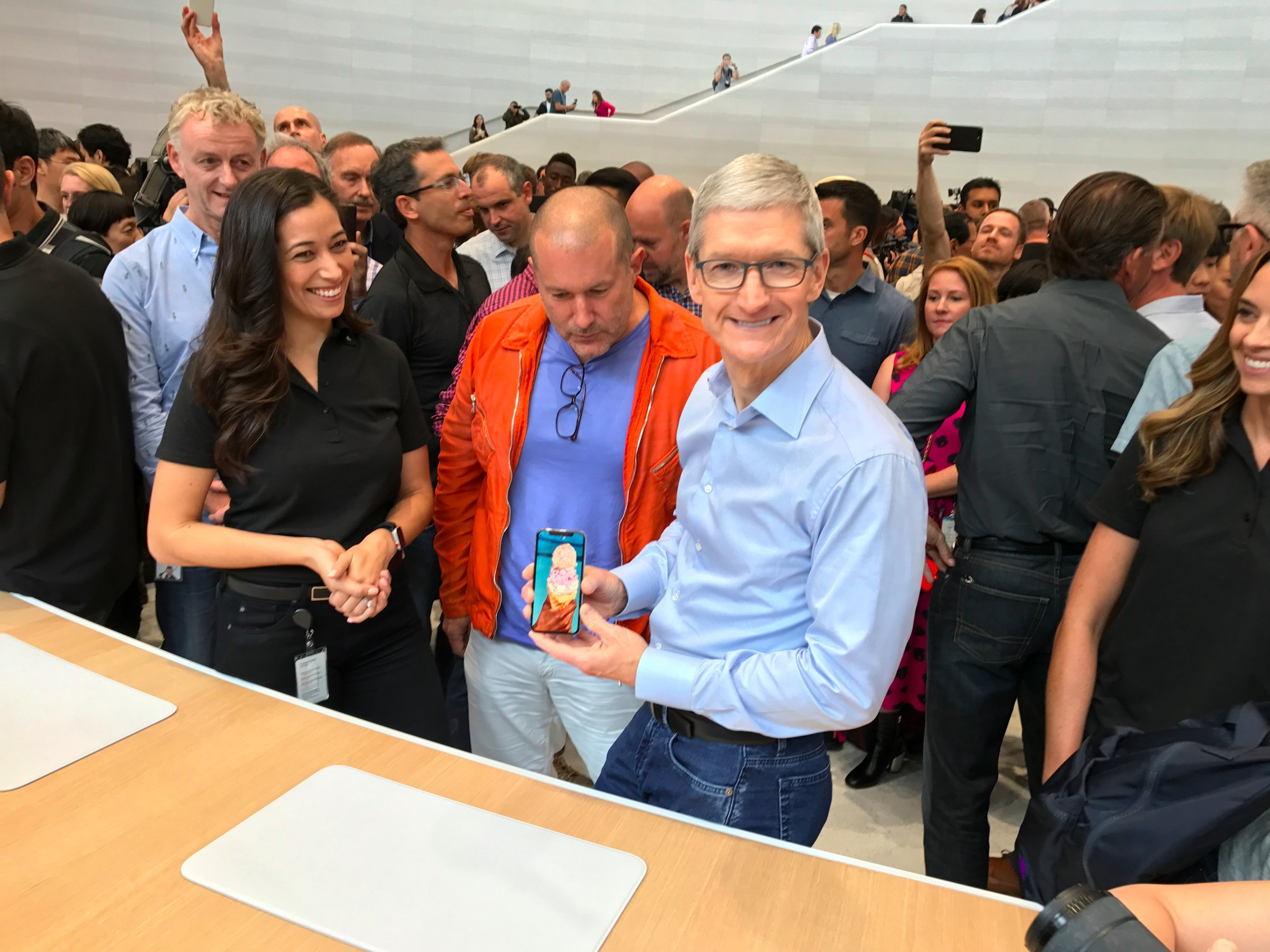 Tim Cook and Jony Ive with iPhone X