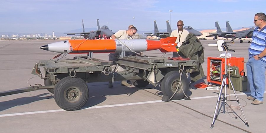 The Air Force Nuclear Weapons center tested an inert B-61 on the Nevada Test and Training Range.