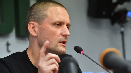 Left Front coordinator Sergei Udaltsov at a news conference in Moscow © Alexey Kudenko