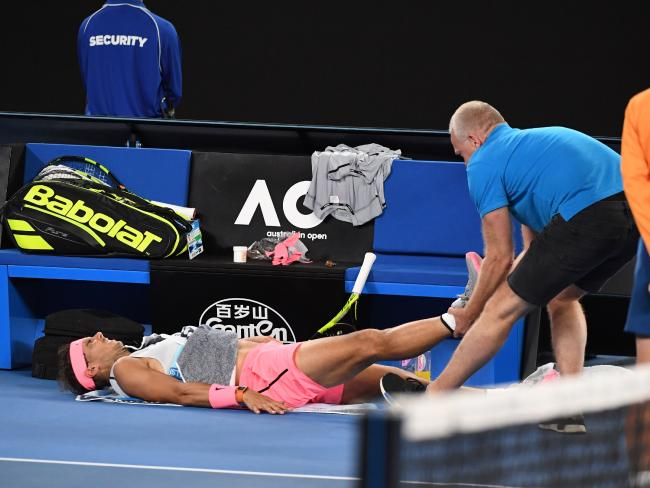 Rafael Nadal was limping for the last 45 minutes of the match.