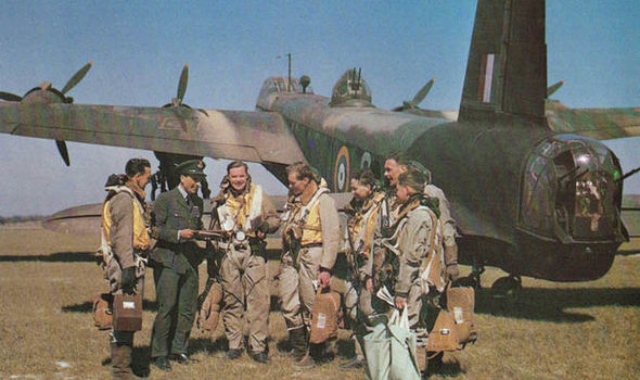 Flight Lieutenant Leslie R Barr, third from left, with the crew of the doomed Stirling bomber in Cambridgeshire