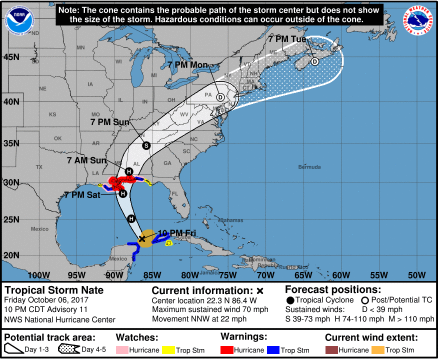 tropical storm nate 10pm CDT