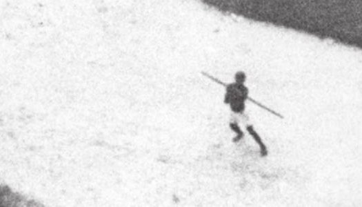 An aerial image from a low-level overflight of the Congo by a US Air Force reconnaissance aircraft in 1964 caught this moment in which a spear was thrown at the aircraft.