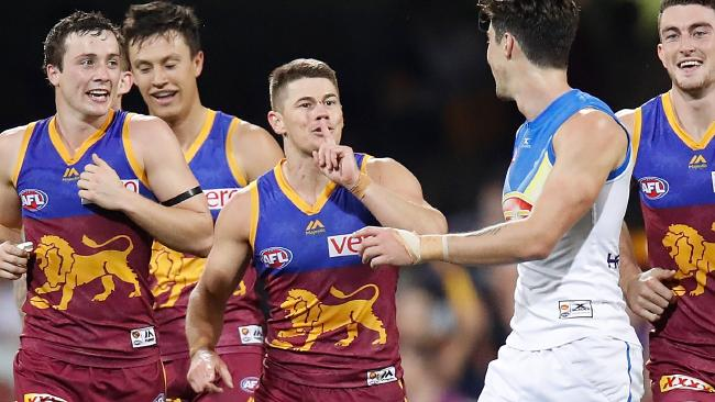 Dayne Zorko tells Alex Sexton to hold his tongue.