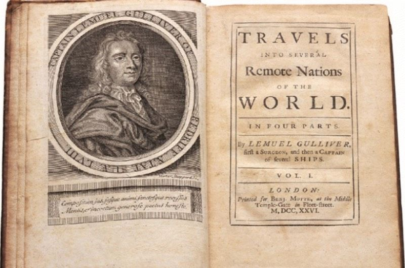 Title page of first edition of Jonathan Swift's <em>Gulliver's Travels</em>, relating the fictional adventures of one Lemuel Gulliver.