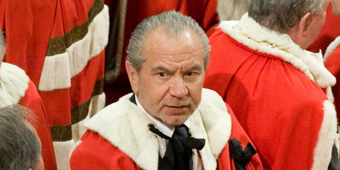 British businessman Alan Sugar attends the State Opening of Parliament, in the House of Lords within the Palace of Westminster, London November 18, 2009.