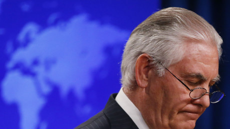 Rex Tillerson speaks to the media after being fired by President Donald Trump. March 13, 2018. © Leah Millis