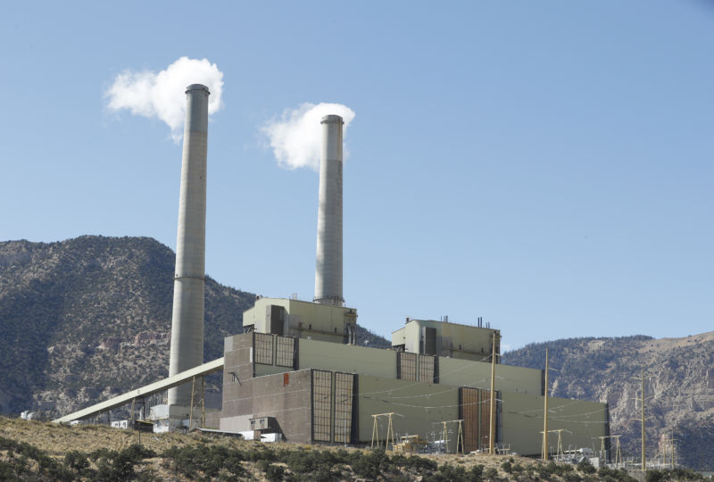 Smokestacks at Pacificorp's 1,000MW coal-fired power plant on October 9, 2017 outside Huntington, Utah.
