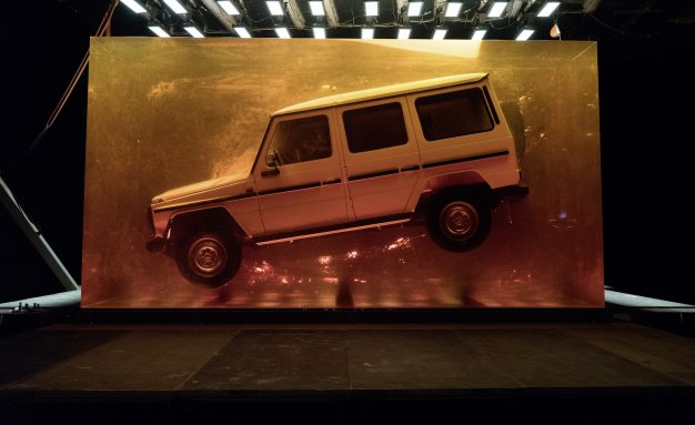 A Mercedes-Benz G280 in resin.