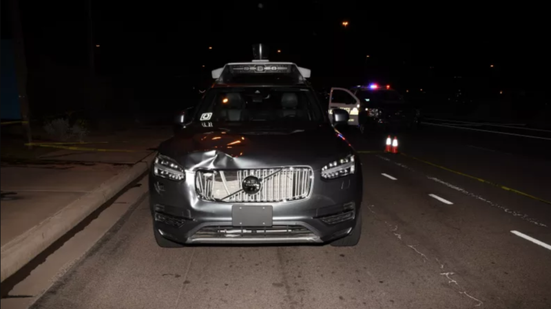 The Uber vehicle after it struck Elaine Herzberg.
