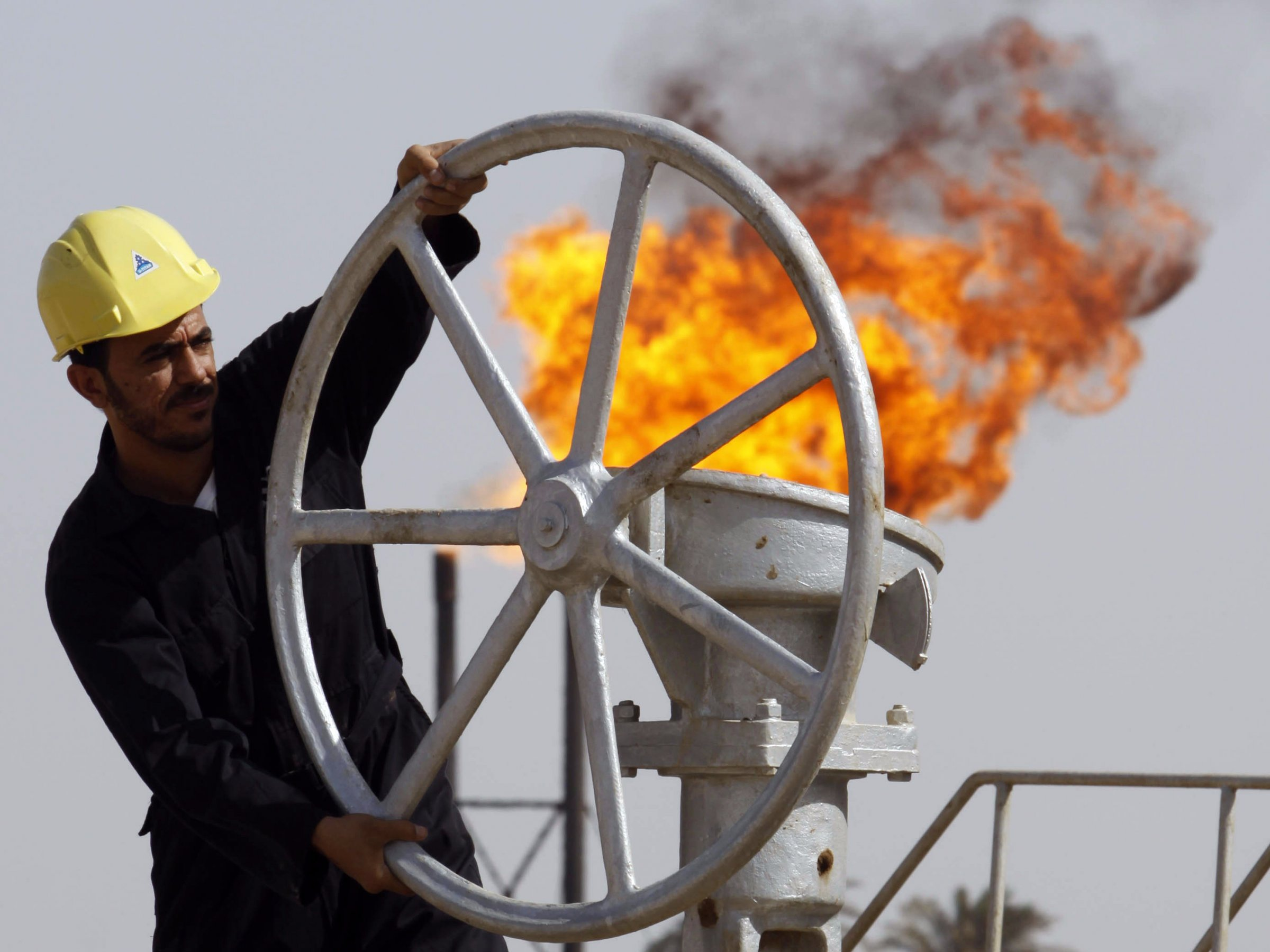 oil worker flame fire