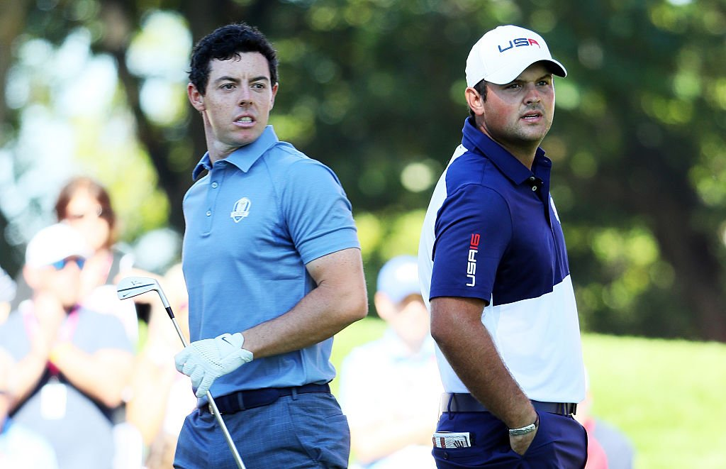Rory McIlroy of Europe and Patrick Reed of the United States