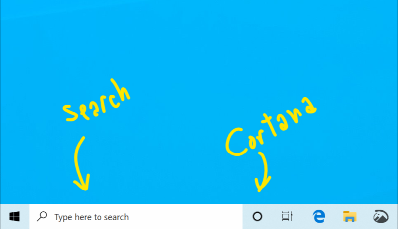 The Cortana button is now no longer part of the search box.