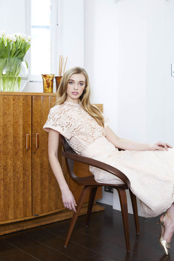 Model wears apricot lace co-ord