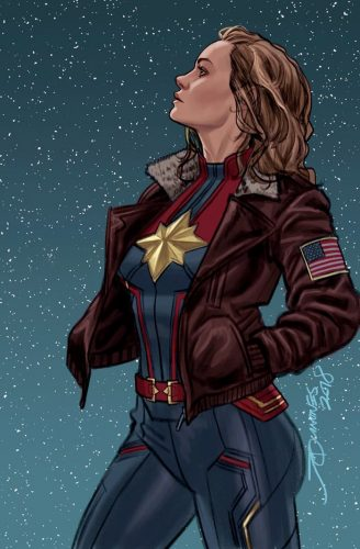Captain Marvel Comic Cover - Brie Larson