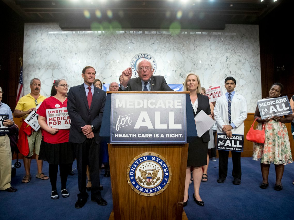 Sen. Bernie Sanders and Gillibrand unveil their Medicare for All legislation at a press conference in September.