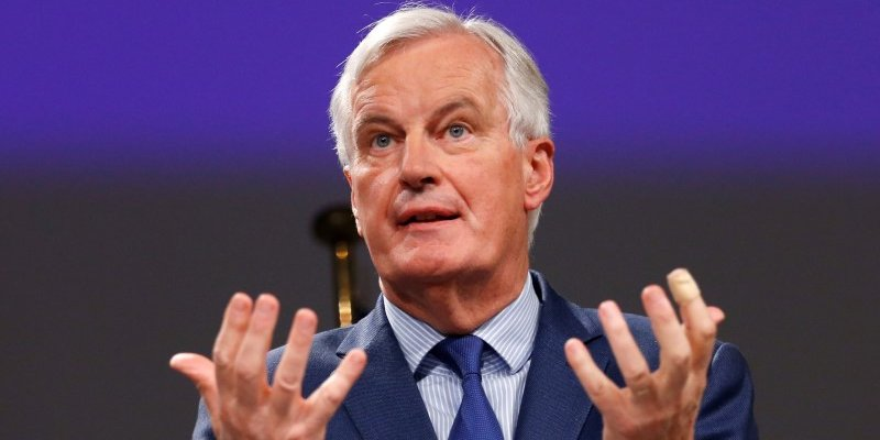 European Union's chief Brexit negotiator Michel Barnier  holds a joint news conference with Britain's Secretary of State for Exiting the European Union David Davis (unseen) after the latest round of talks in Brussels, Belgium October 12, 2017. REUTERS/Francois Lenoir