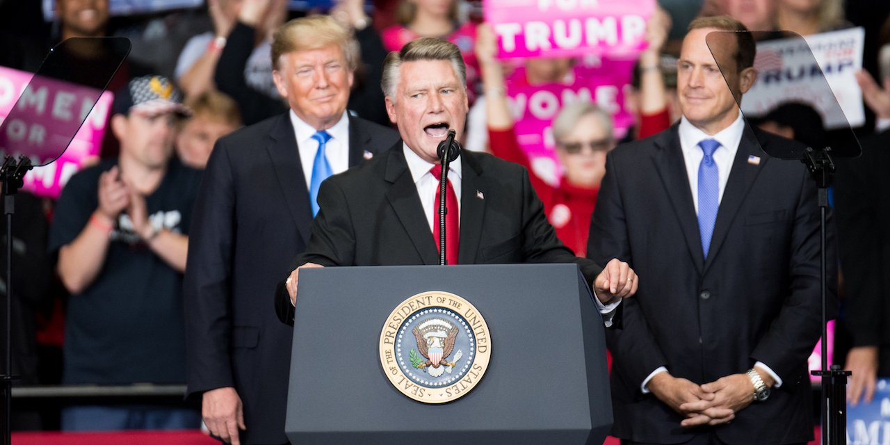 epublican Congressional candidate for North Carolina's 9th district Mark Harris with President Donald Trump.
