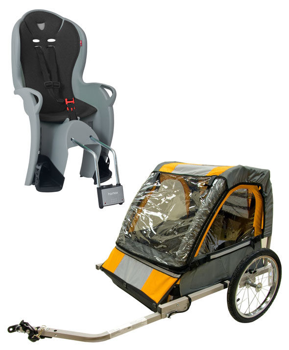 Double Bike Trailer and Hamax Rear Child Bike Seat
