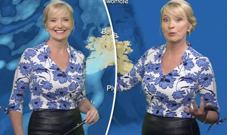 BBC weather: Carol Kirkwood squeezes curves into leather skirt and ...
