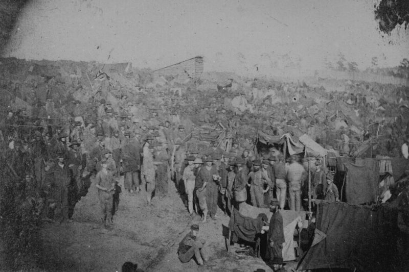 Crowded conditions at the Andersonville POW camp.
