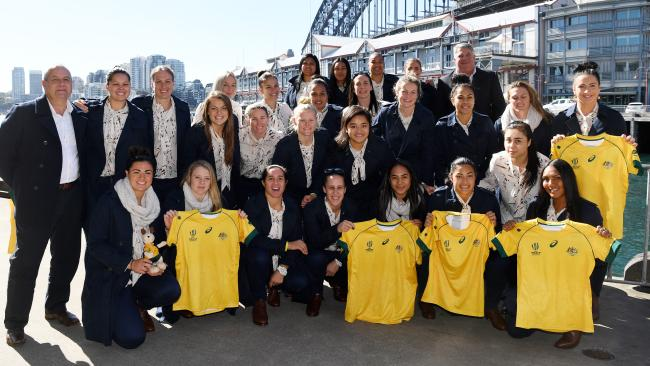 The Wallaroos at their farewell in Sydney on Tuesday ahead of their World Cup in Ireland.
