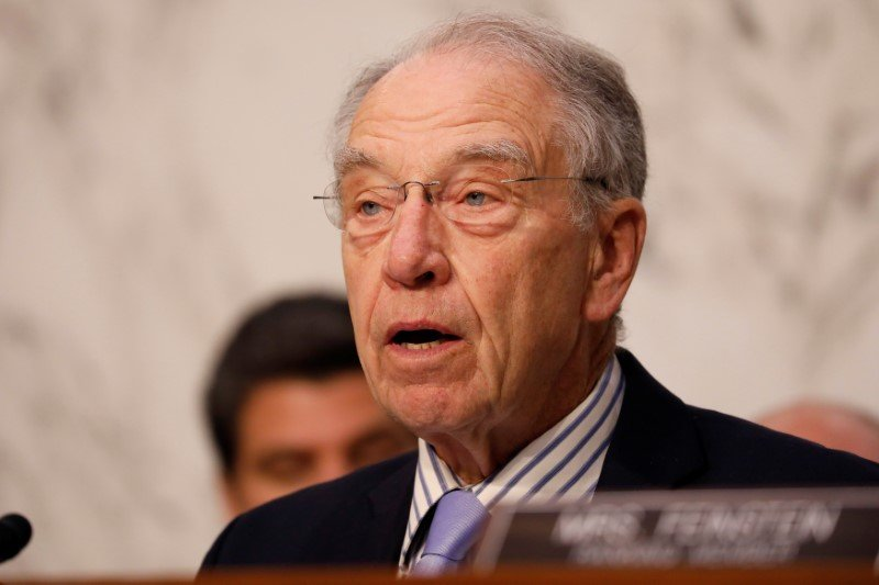 FILE PHOTO - Senator Chuck Grassley (R-IA) asks a question during a Judiciary Committee hearing into alleged Russian meddling in the 2016 election on Capitol Hill in Washington, U.S., July 26, 2017. REUTERS/Aaron P. Bernstein