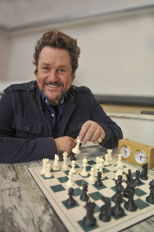 Michael Ball playing chess