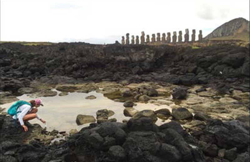 Photograph of freshwater pool near the coast of Easter Island
