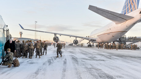 US Marines disembark after landing on January 16, 2017 in Stordal, Norway