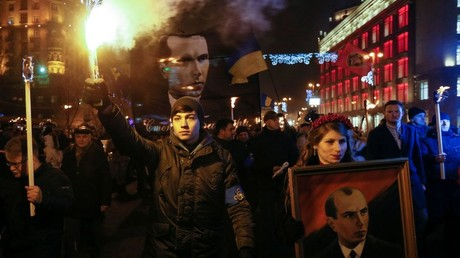 Ukrainian nationalists march to mark the 108th birth anniversary of Stepan Bandera in Kiev, Ukraine, January 1, 2017. © Valentyn Ogirenko