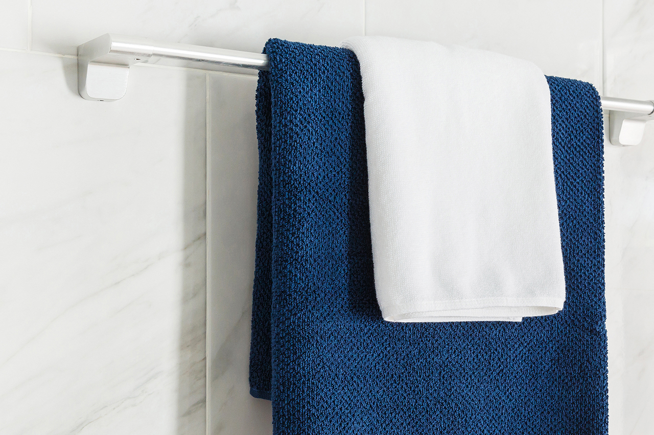 Towels hanging over a rail