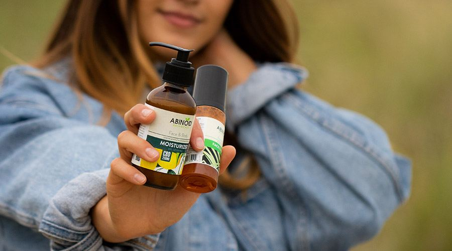 woman cbd skincare products